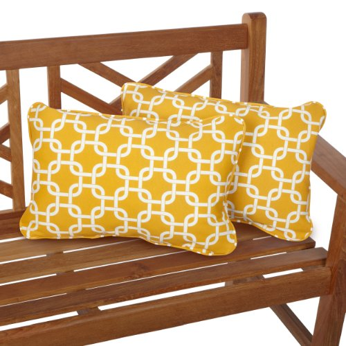 Mozaic Company Indoor Outdoor 13 by 20-inch Corded Pillow, Linked Yellow, Set of 2