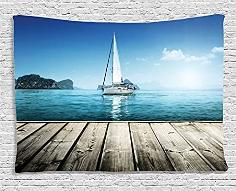 Nautical Tapestry Wall Hanging by Ambesonne, Yacht from Wooden Deck Horizon Serene Seascape Leisure Aquatic Coastal Theme, Bedroom Living Room Dorm Decor, 60 W X 40 L Inches, Blue (Blue Theme Room)
