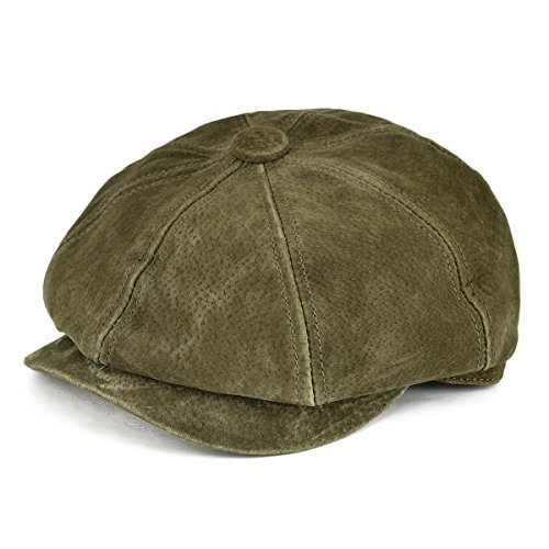 VOBOOM Leather newsboy Retro IVY Hat Cap 8 Pannel Cabbie Classtic Beret Hat (L/XL(60cm), Army Green)