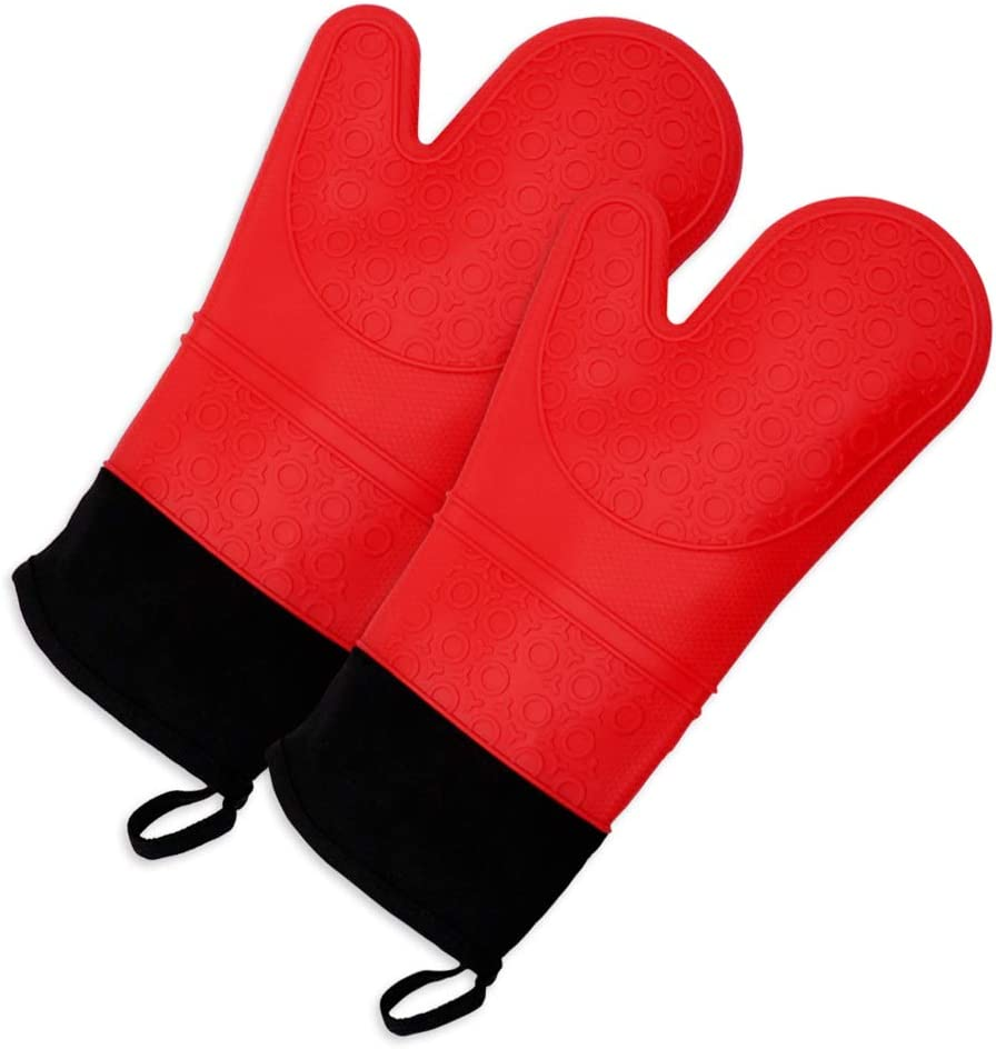 HY Silicone Non Slip Oven Mitts,1 Pair of Extra Long Professional Pot Holders,Heat Resistant Kitchen Cooking Mitts,Baking and Outdoor BBQ: Home & Kitchen