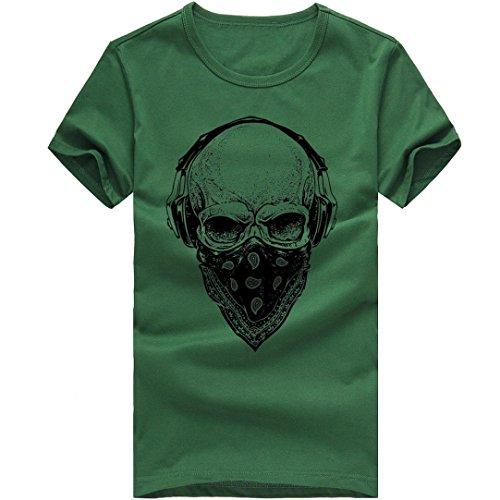 Bluestercool Hommes Casual T-Shirt Imprimé Manches Courtes Col Rond Tops Vert