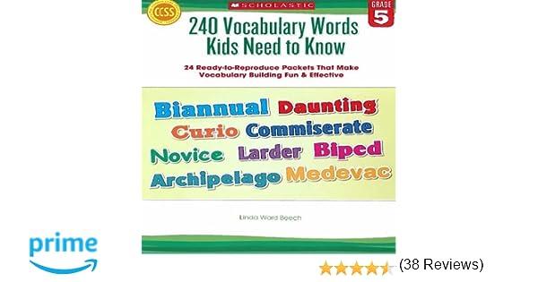 Amazon.com: 240 Vocabulary Words Kids Need to Know: Grade 5: 24 ...