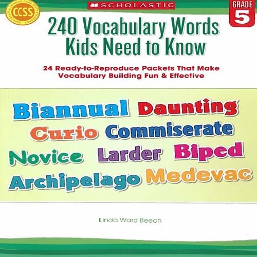 Amazon.com: 240 Vocabulary Words Kids Need to Know: Grade 5: 24 ...