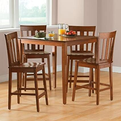 Amazon Com Contemporary 5 Piece Counter Height Dining Set Brown