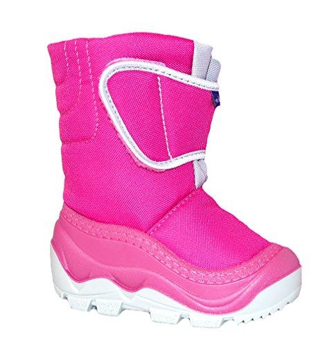Muflon Renbut Baby Mädchen Schneeschuhe Winterschuhe Snowboots Gummistiefel Gefüttert mit Wolle Klettverschluss Pink Grau Pink