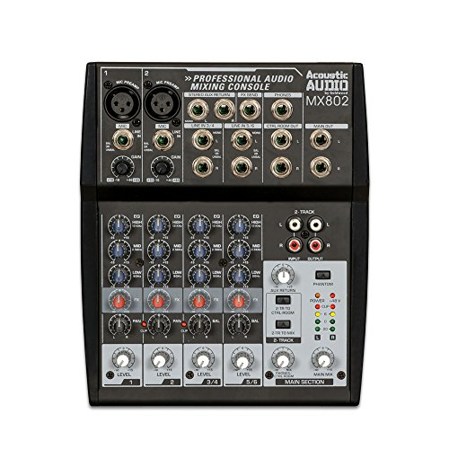 Acoustic Audio MX802 Mixer 8 Channel 2-Bus Premium Pro Audio Mixing Console Channel Audio Mixing Console