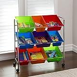 Seville Classics 9-Bin Organizer Cart, Multicolor