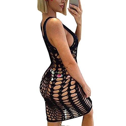 (shermie Women's Vintage Crochet Lace Bikini Swimsuit Cover Ups Short Hollow Out Beach Dresses Black 2XL)