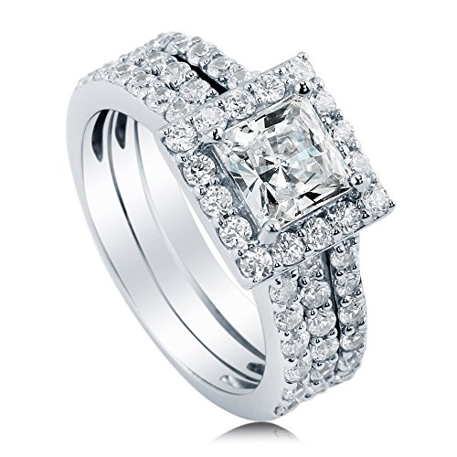 BERRICLE Sterling Silver Princess Cut Cubic Zirconia CZ Halo Womens Engagement Wedding Ring Set