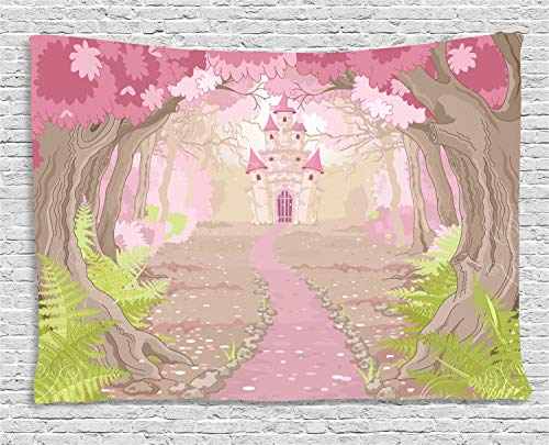 Ambesonne Teen Girls Decor Collection, Path To The Fairy Tale Princess Castle In Fantasy Forest Landscape Artwork, Bedroom Living Room Dorm Wall Hanging Tapestry, 80W X 60L Inch, Green Beige Pink