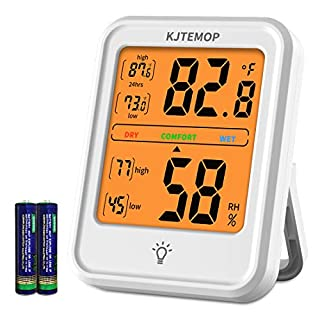 KJTEMOP Digital Hygrometer Humidity Gauge Indicator Digital Indoor Thermometer Room Temperature and Humidity Monitor with Touch Backlight for Home Office