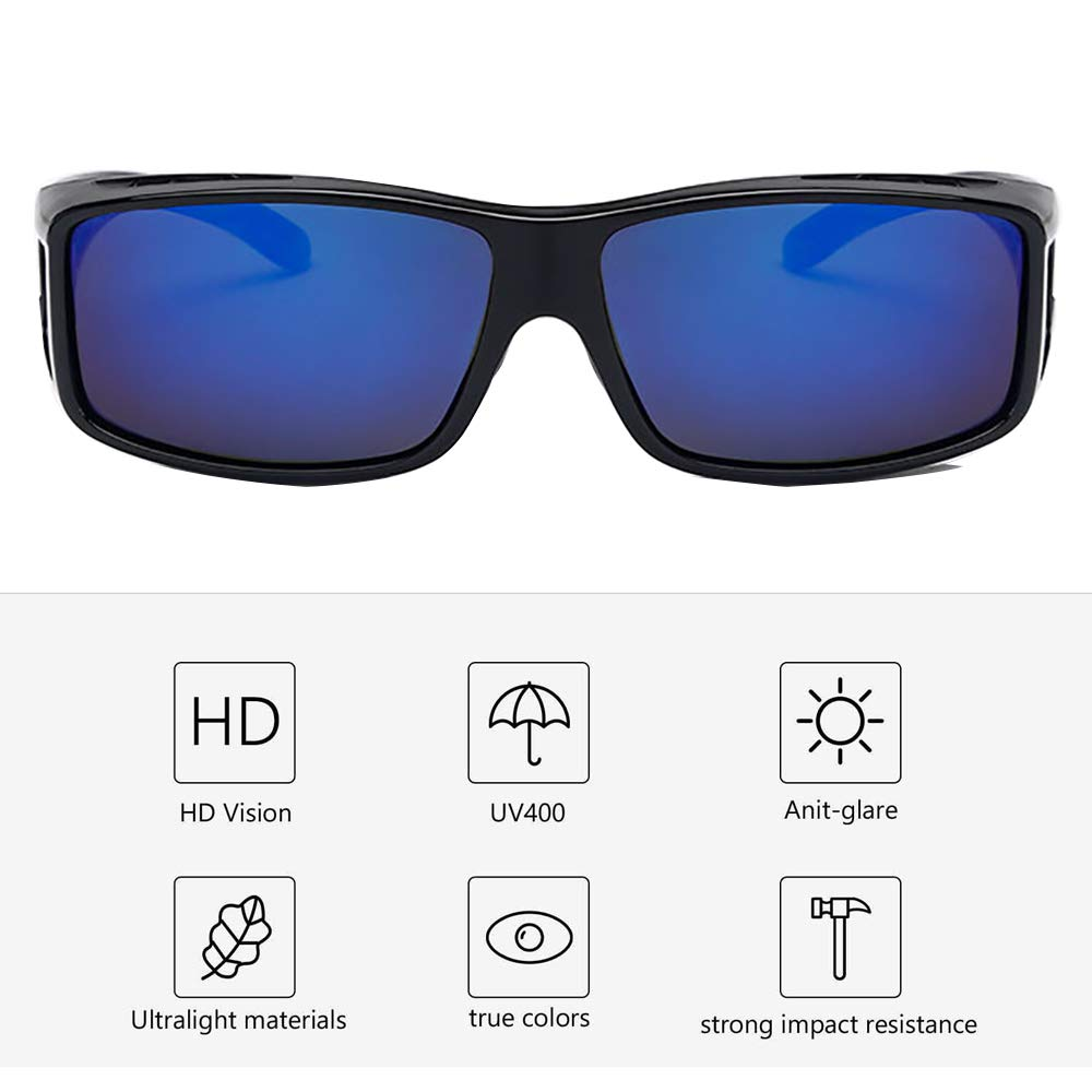 8cd8dfc987 Conducción Gafas de Sol Polarizadas Rectangular Fit Over Glasses con  Protector Lateral Lente de Conducción Protección de Abrigo: Amazon.es: Ropa  y ...