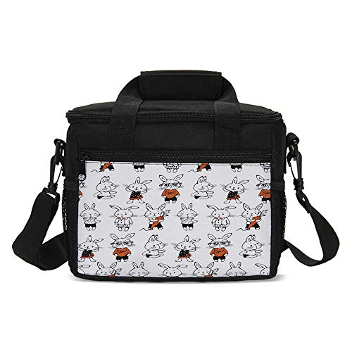 Funny Lightweight Lunch Bag,Cute Retro Bunny Rabbits with Costumes Jack Hare Funky Bunnies Carrot Sketch Style for Daily Use,One size ()