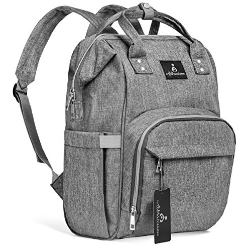 Abbracciamo Diaper Bag Backpack – Multi-Function Waterproof Tote with Insulated Pockets – Durable Large Capacity Maternity Nappy Bags – Stylish Washable Organizer for Travel with Baby - Unisex Grey