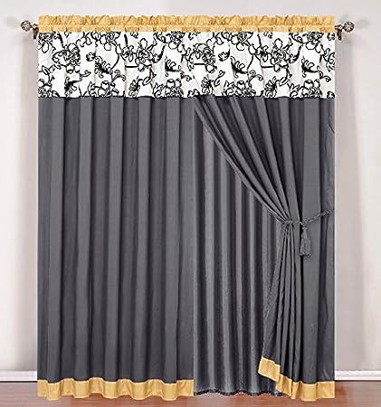 Very best Amazon.com: 4 Piece Luxury Yellow / Black / White / Grey Floral  BZ04