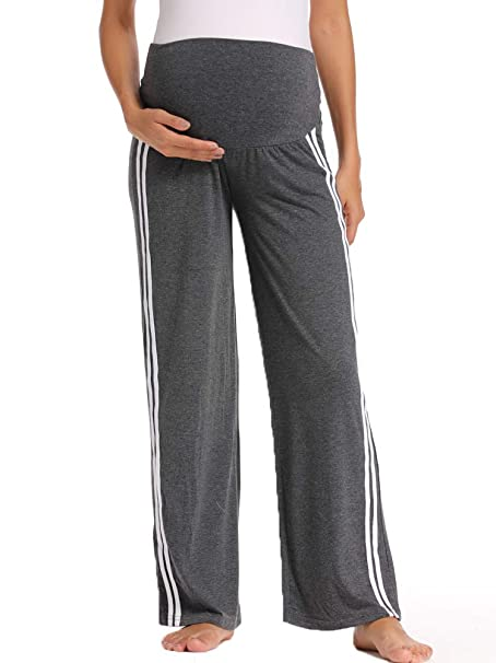 DOREI Womens Maternity Wide/Straight Versatile Pajama Yoga Workout Palazzo Lounge Pants Stretchy Pregnancy Trousers