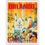 Orlando - Florida, USA - Walt Disney World Resort - National Airlines - Vintage Airline Travel Poster by Bill Simon c.1970s - Master Art Print - 9in x 12in