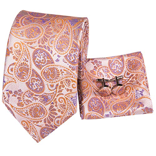 Hi-Tie New Arrival Mens Orange Paisley Tie Necktie Pocket Square and Cufflinks Tie Set Gift Box (Orange paisley)