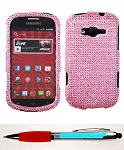 Accessory Factory(TM) Bundle (the item, 2in1 Stylus Point Pen) SAMSUNG M950 (Galaxy Reverb) Pink Full Diamond Bling Protector Cover(Full 2.0) Stylish Design Snap On Hard Case Cover Faceplate Shell