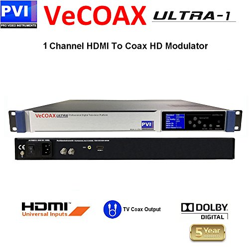 - ProVideoInstruments - VECOAX ULTRA-1 is a Single channels HDMI Modulator to channels to distribute HD Video Over coax with real time perfect quality
