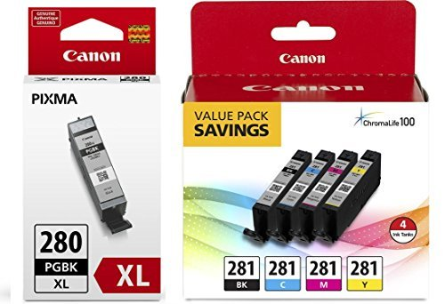Value Pack Color Ink - Canon CLI-281 BKCMY 4-Color Ink Tank Value Pack (2091C005) + Canon PGI-280 XL Pigment Black Ink Tank (2021C001)