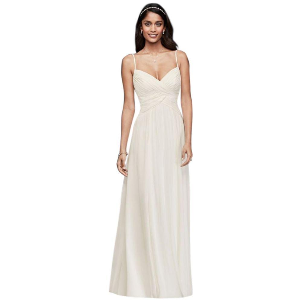 Davids Bridal Ruched Bodice Chiffon A Line Wedding Dress Style