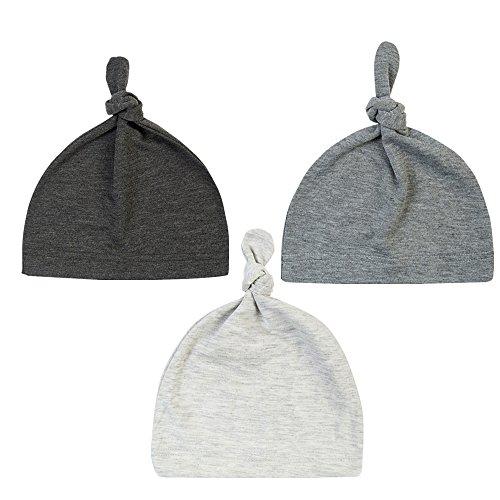 BBPIG Unisex Baby Adjustable Knot Hat Cotton Soft Cute Knit Hat Cap (3 Pac(Light Grey+Grey+Dark Grey)