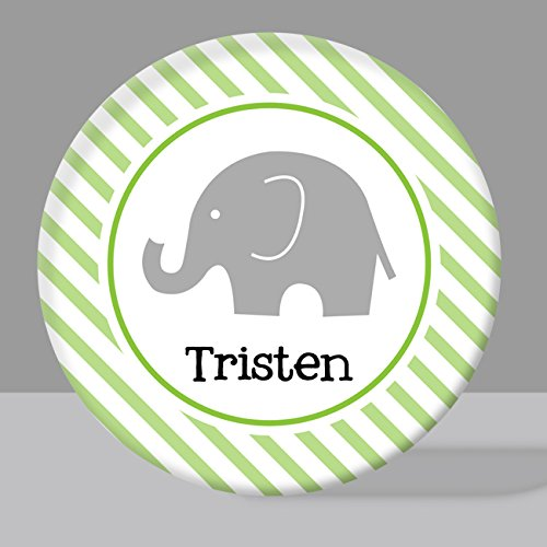 Green Stripe Elephant Melamine Bowl or Plate Custom Personalized with Childs Name by BitsyCreations