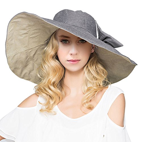 LRKC Women's Reversible Foldable Wide Brim Sun Hat with Bowknot...