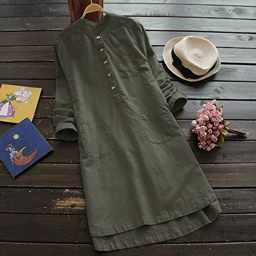 Mujer Z verde botón Flojo Retro de Camisa Cuello Vintage Tapas de Oscuro sólido Vestido Blusa sólido O Overdose Manga Larga Mini UqHnEv1twz