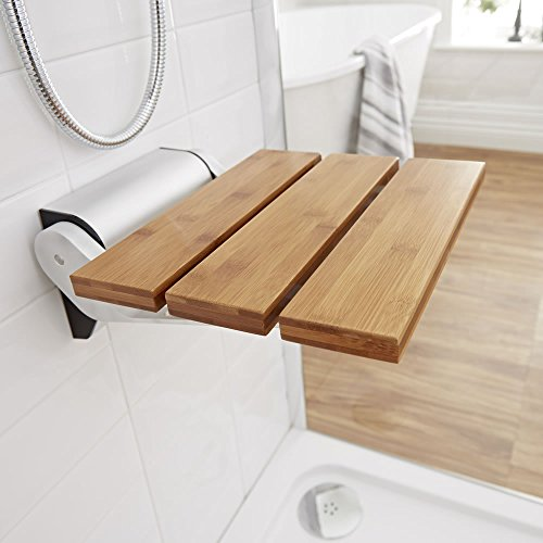 Modem Bamboo Wooden Folding Shower Seat Chrome Hinges