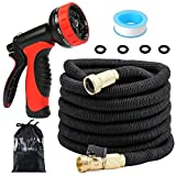 VELMAZ Expanding Garden Hose, 50ft Strong Expandable Stretch Hose Pipe with Solid Brass Connectors, 9 Pattern Spray Nozzle for Watering Plants Washing Car, Free Tube Sealing Tape & Storage Bag