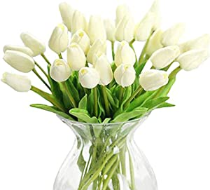 WAQIA HOUSE 30 Pcs Artificial Tulip Flowers Real Touch Tulips Fake PU Tulip Flower Bouquet for Home Wedding Party Office Decor(Off White)