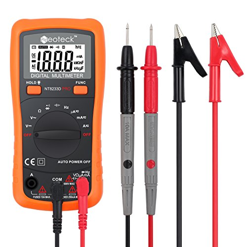 Neoteck Pocket Digital Multimeter 8233D PRO 2000 Counts Auto Ranging Digital Multimeters Digital Multi Tester-DC Current Resistance Diodes Transistor Audible Continuity Tester with Backlit LCD (Multimeters Digital)