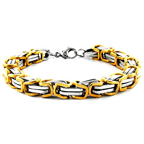 West Coast Jewelry Men's Gold Plated Stainless Steel Two Tone Byzantine Bracelet - 8