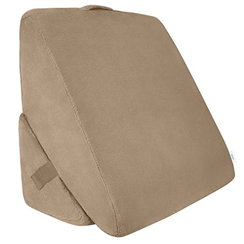 Xtra-Comfort Bed Wedge Pillow - Folding Memory Foam Incline Cushion System for Back and Legs - Triangle Shaped for Reading, Support - Washable (Back Bed Support)