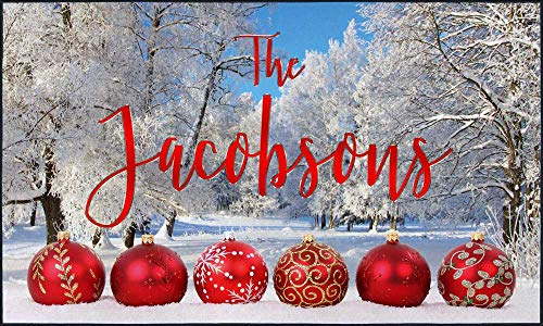 Pro-Tuff Decals Personalized Holiday Door Mat Christmas Ornaments and Winter Scene with Your Name (36