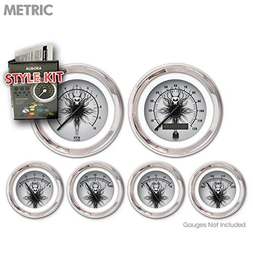 Black Modern Needles, Chrome Trim Rings Aurora Instruments 5675 Skull Series Metric Style Kit