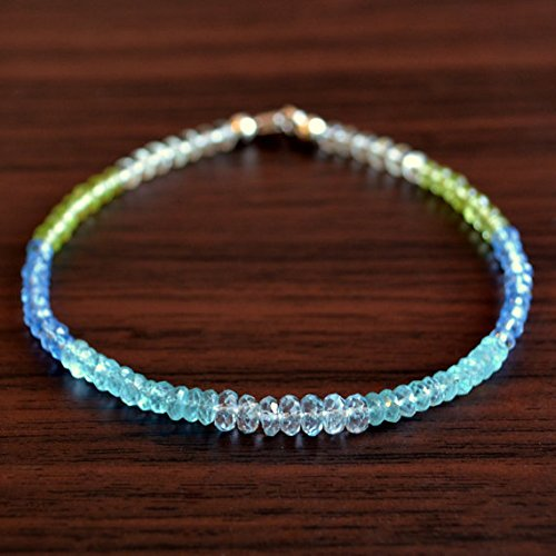 - JP_BEADS Blue Topaz Beaded Bracelet, Apatite Peridot Green Amethyst Gemstone Jewelry 3-4mm