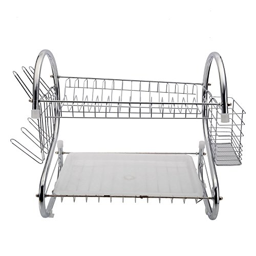 Stainless Steel 2-Tier Dish Drying Rack, Kitchen Dishes Rack with Removable Drain Board, Sturdy Large Capacity Plate Dish Drainer Organizer, (US Stock)