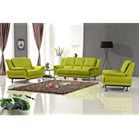 Milano Leather Sofa Set (Lime Green)