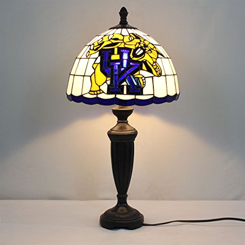 Gweat 12-inch NCAA Kentucky Wildcats Stained Glass Table Lamp