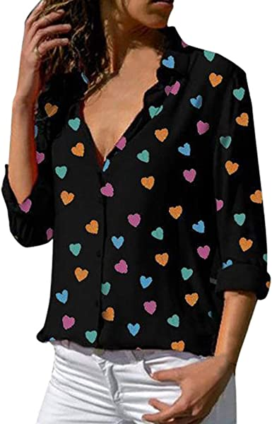Women Loose T-Shirt V-Neck Tee Shirts Dot Printed Casual Lapel Tunic Blouses