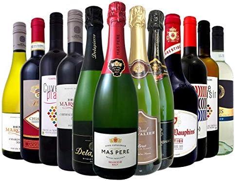 [スポンサー プロダクト]ワインセット スパークリングワイン、赤ワイン、白ワインのミックス12本セット イタリア フランス 有名ワインセット