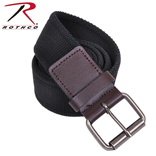 Rothco Vintage Single Prong Web Belt With Leather Accents, Small (Scene Accent)