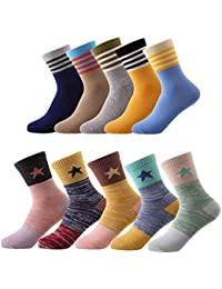 10 Pairs Kids Boys Colorful Novelty Fashion Cotton Crew...
