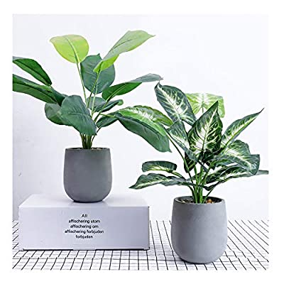 U'Artlines Artificial Plastic Mini Plants Topiary Shrubs Fake Plants with Gray Pot for Bathroom,House Decorations (2pcs, 2 Style)