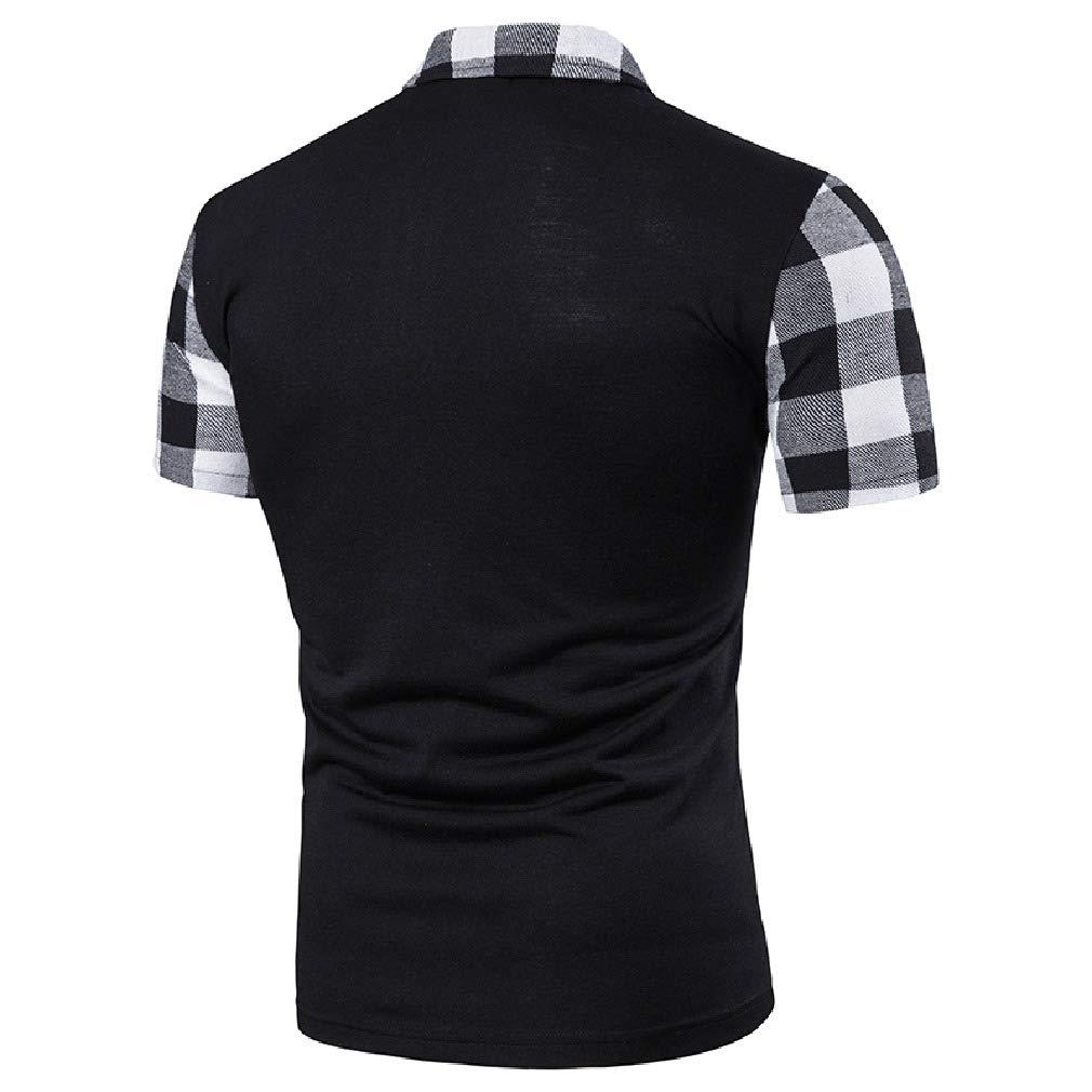 Mfasica Mens Short-Sleeve Trendly Regular-Fit Plaid Polo Shirt Tees