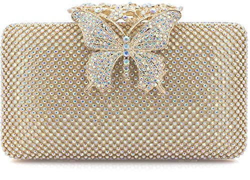 Dexmay Rhinestone Crystal Clutch Purse Butterfly Clasp Women Evening Bag for Formal Party AB Gold