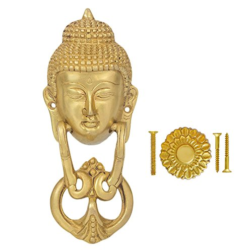 Fine Craft India Handcrafted Brass Door Knocker of Gautam Buddha With Antique Finish Perfect for Living Room Decoration Measure: 8 (L) X 3 (W) X 1.5 (H) Inches, Weighs 1.35 LB Crafts Door Pull